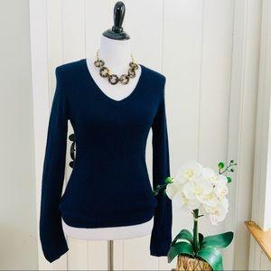 CHARTER CLUB Navy 100% Cashmere V-Neck Sweater